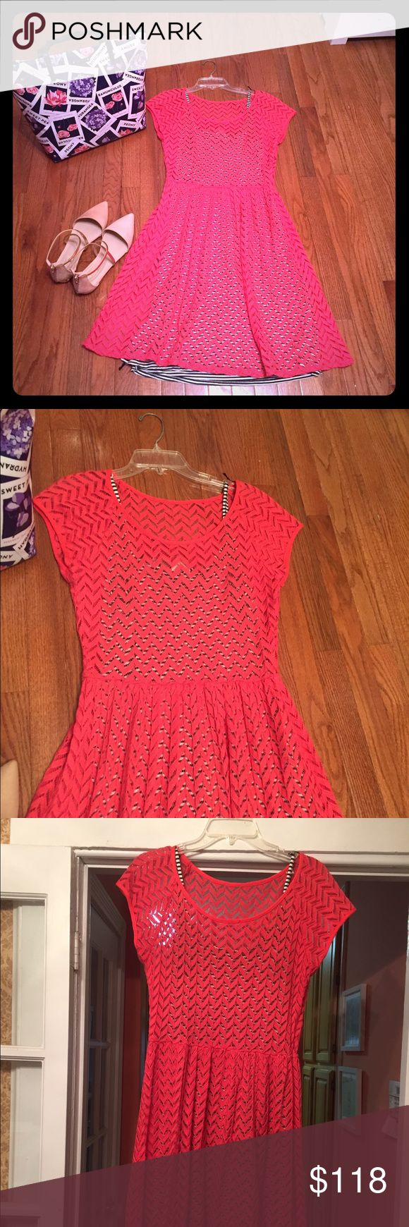 Anthropologie Weston Wear Pink Chevron Dress Bright pink Chevron patterned Lace fit and flare dress featuring cap sleeves, defined waist and slightly flared skirt. Scoop neckline for a feminine, flattering fit; black and white striped slipdress underneath. The black/white stripe peeks through the semi sheer Chevron pattern for a fun, whimsical look. A gorgeous dress (still with tags!); ideal for the summer with simple sandals or dress it up for a night out-like having 2 fabulous dresses in…