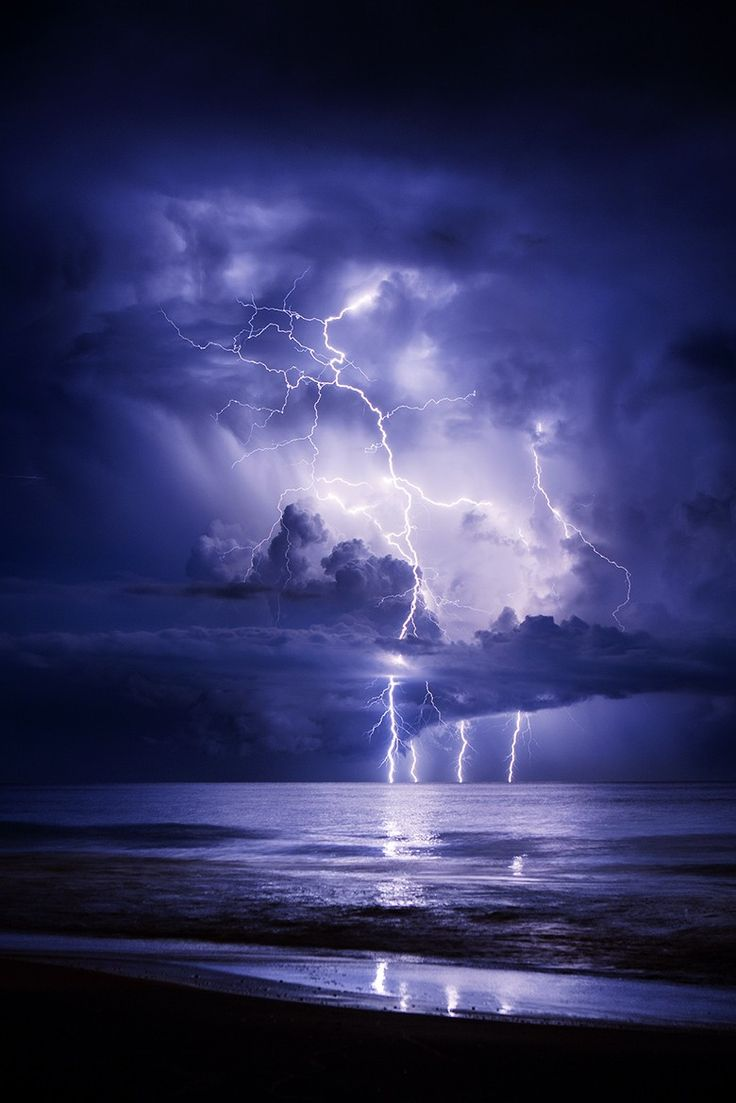 Contemporary Thunderstorms And Lightning At Sea Gulf By Galen Burow On Decorating