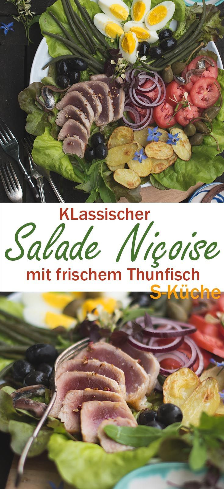 Rezept für ganz klassischen aber guten Salade Niçoise - Rosa gebratener Thunfisch und französisches Glück an einem Sommerabend.