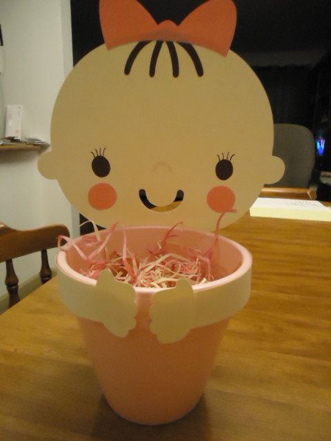 Baby Shower Clay Pot Centerpieces by PeggysCraftaLatte on Etsy, $15.00
