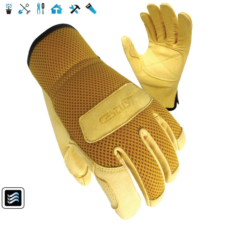 EZ Landscape: Mesh backed, this glove breathes while still providing maximum protection. Durable goat skin leather with reinforced fingertips add to the durability ad protection of the glove.