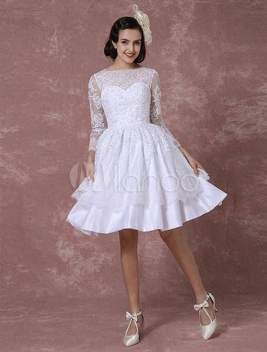 Kurzes Hochzeitskleid Vintage Brautkleid Spitze Applique Lange ärmel