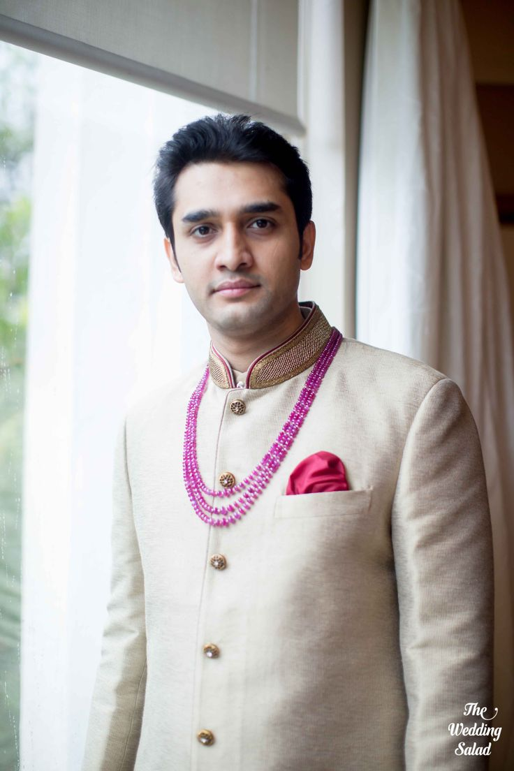 Indian Groom | Getting Ready | Beige Sherwani | Photo by The Wedding Salad