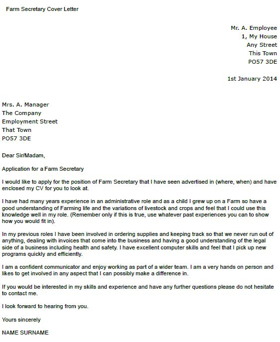farm secretary cover letter example icover for receptionist - secretary cover letter