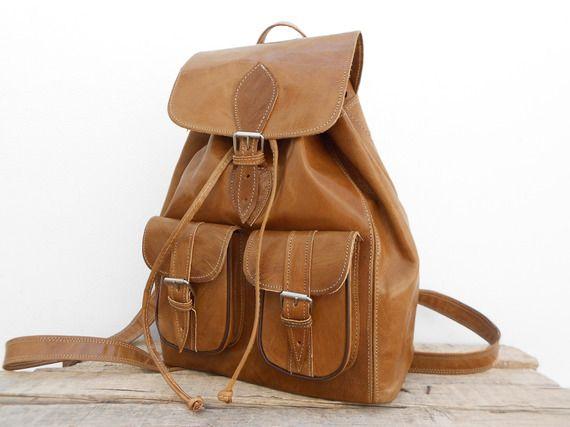Sac à dos en cuir marron Vintage Style, Petit sac de voyage