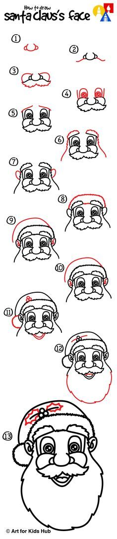 How To Draw Santa Claus\'s Face - Art for Kids Hub