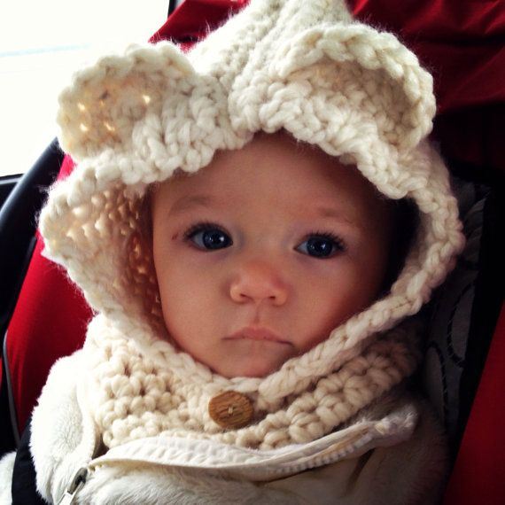 Makes a great gift for that little cutie in your life Bear Cowl - Crochet Baby Cowl - Kids Cowl on Etsy, $32.00