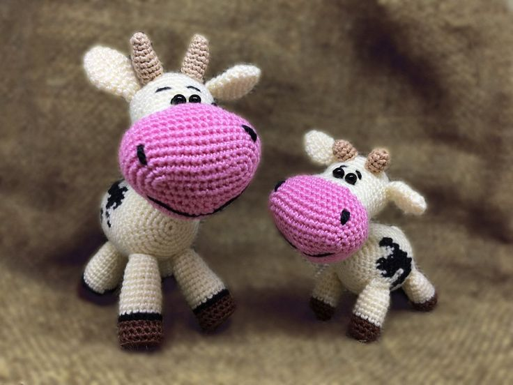 Amigurumi Crochet Doll Cow and Calf, Knitted Toy for Baby, Fabric Doll #Handmade