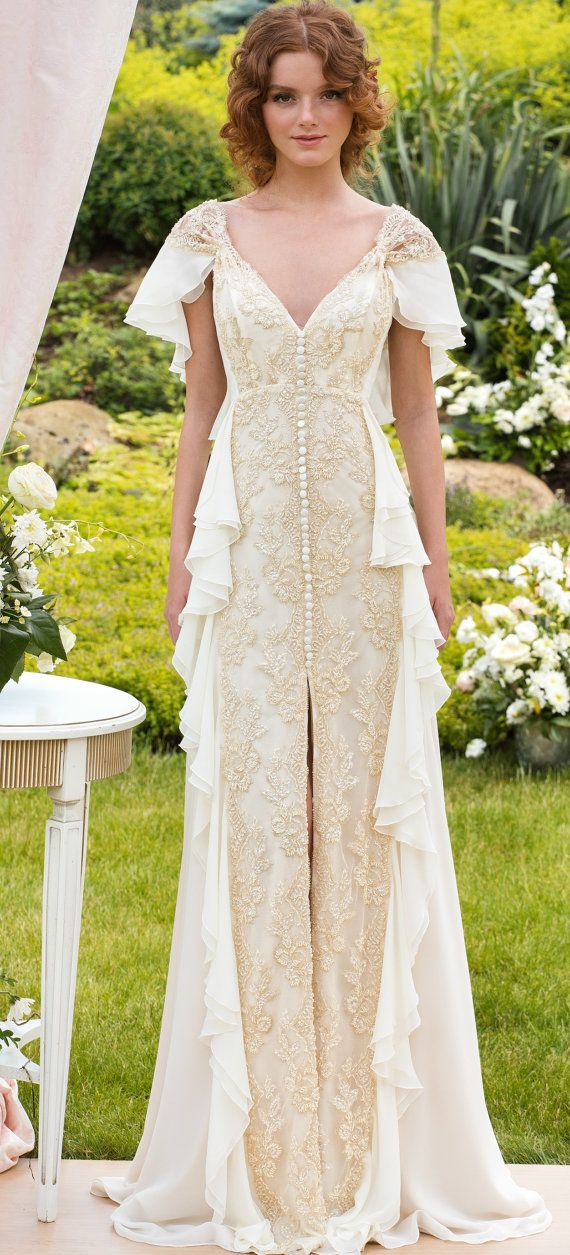 Aristocratic wedding dress with butterfly sleeves
