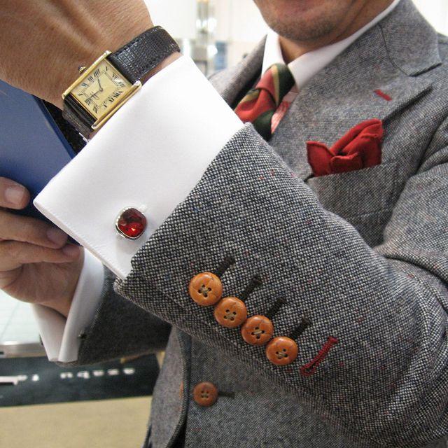 Ruby Cufflinks! Detail!Grey Suits, Details, Men Style, Menstyle, Men Fashion, Men Suits, Pocket Squares, Man, Ruby Cufflinks
