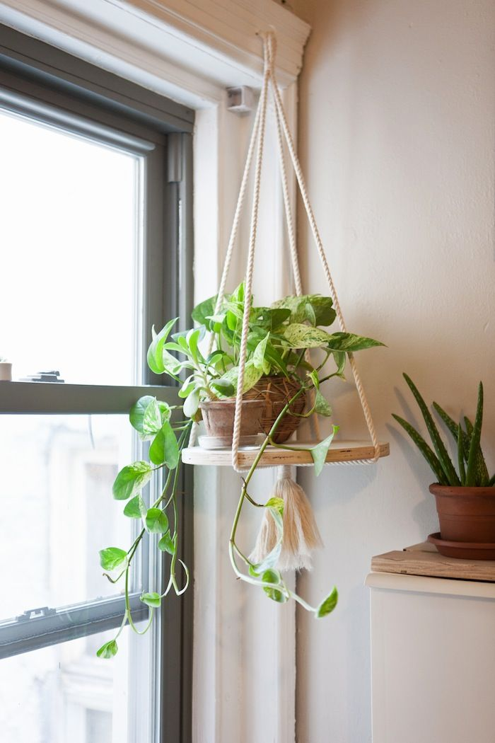 Simply designed rope plant hanger by Recycled Lovers based in San Diego,  California. Featuring a round stained wooden base, perfect for displaying  your ...