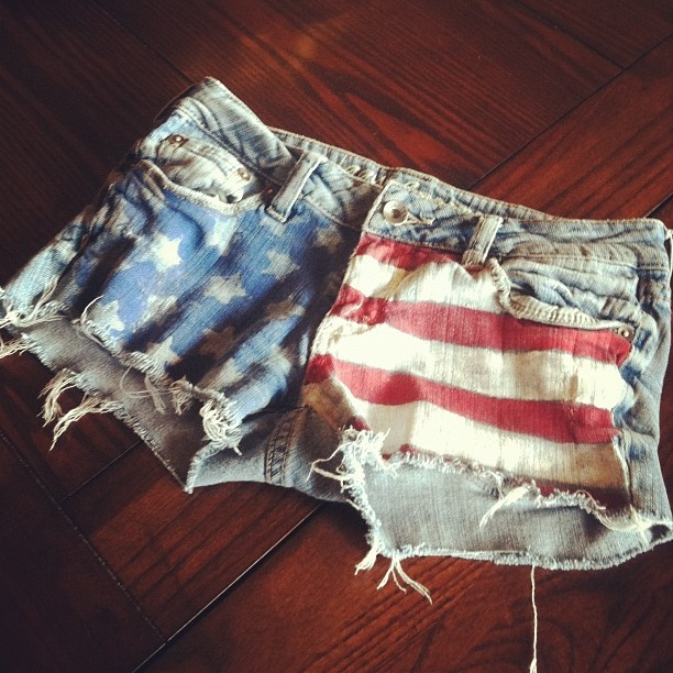 Faded american flag shorts. Made these last week. Let me know if you want a pair:) Stars and stripse shorts