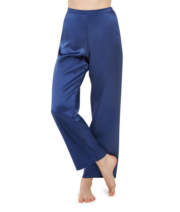 Lotus Indigo Silk Pyjama Trousers £240 - Blue Silk Pyjama Trousers, Lotus Indigo Silk – because pyjamas are a luxury we can't live without. Beautifully smooth for sleeping, pure indulgence for luxury lounging and effortlessly chic for mixing with day or evening wear. Our supple, full-length trousers skim and flatter and sit just below the waist but are not low cut. A smooth, flat fronted waistband, and softly elasticated back ensures a super flattering fit.