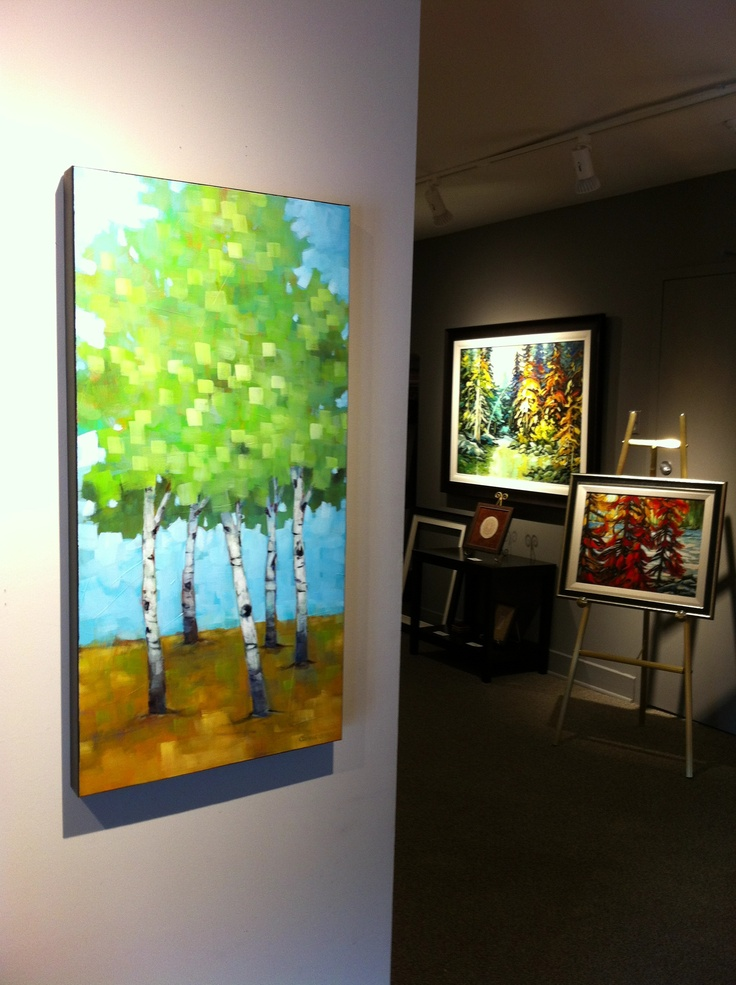 Connie Geerts & Louise Larouche paintings in the gallery! #CanadianArt #paintings #colour www.woodlandsgallery.com