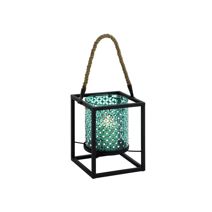 Updated Traditional Mosaic Lantern Candle Holder, Blue