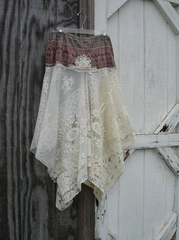 Lagenlook Mori girl Upcycled Print and Lace Boho Prairie Cowgirl Shabby Chic Free People Boutique Skirt on Etsy, $40.00