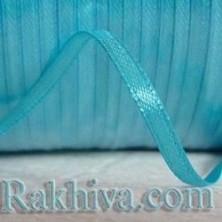 Панделка сатен - синьо към тюркоаз