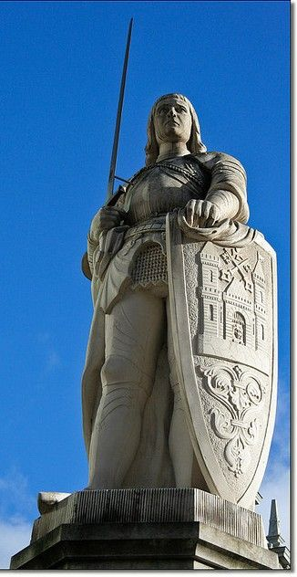 Roland de Roncevaux (d. 778) The statue of Roland, is located in the centre of the town hall square in front of the House of Blackheads in Riga, Latvia. Photo by Patrick Mayon