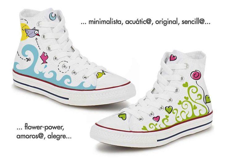 Zapatillas Converse pintadas a mano, Lagartija de Colores.