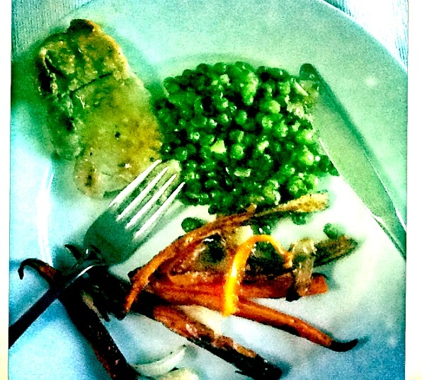 Pork Al Limone, Peas & Roasted carrots