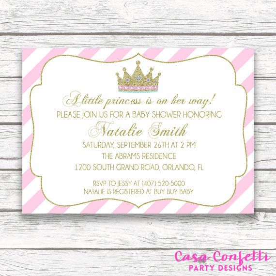 Pink and Gold Glitter Princess Baby Shower Invitation, Pink White Striped Gold Baby Girl Shower Crown Tiara Invite, Printable