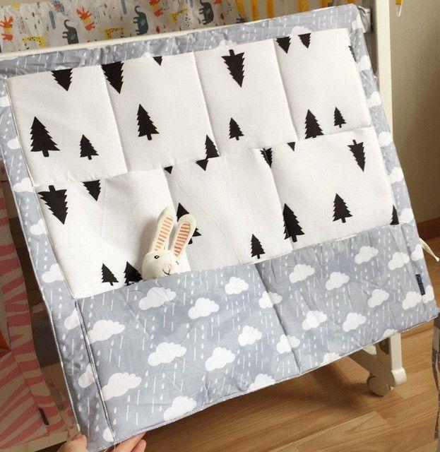 Muslin Tree Bed Hanging Storage Bag Baby Cot Bed Brand Baby Cotton Crib Organizer 60*50cm Toy Diaper Pocket for Crib Bedding Set