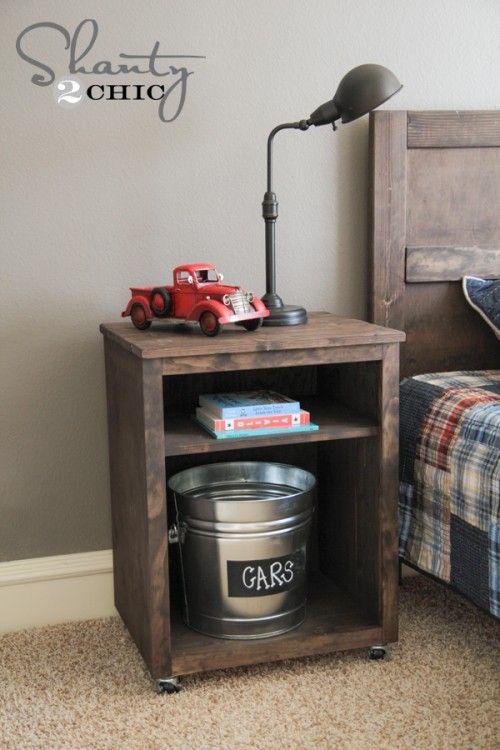 DIY Mobile Nighstand! FREE plans and tutorial at Shanty-2-Chic.com