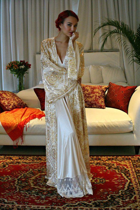 Lentejuelas oro traje nupcial novia dorada por SarafinaDreams