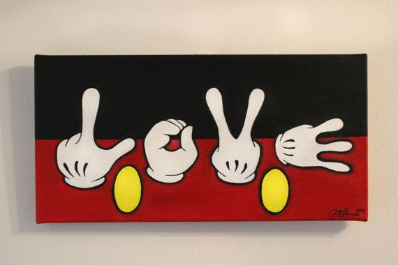 Disney's Mickey Mouse Love Hands by HapaCanvas on Etsy