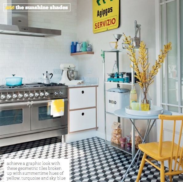 Black, white and yellow kitchen. Love the floor!