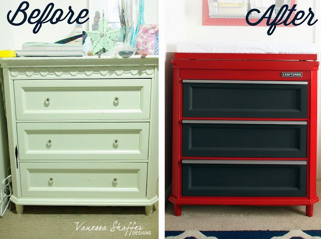 convert a shabby chic dresser into an awesome toolbox changing table