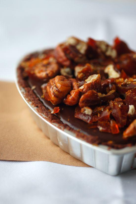 Sea-Salted Chocolate and Pecan Praline Heart Tarts