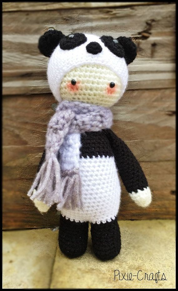 Handmade Crochet Amigurumi Mini Panda Bear Doll  - Lalylala- cute Gift/keepsake idea - 10 inches tall