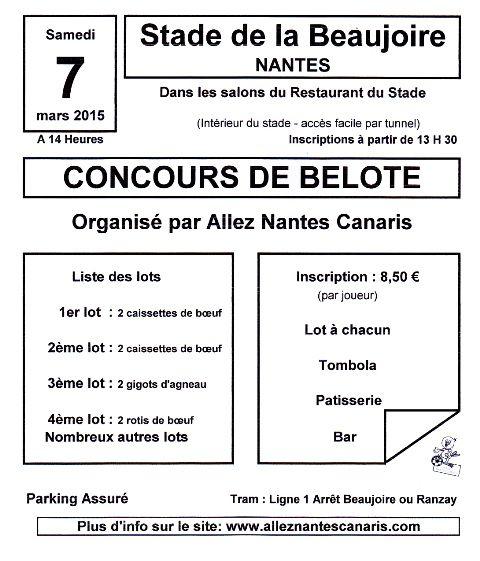 Affiche du concours de belote organisé samedi 7 mars 2015 au stade de la Beaujoire à Nantes, en Loire Atlantique (44).