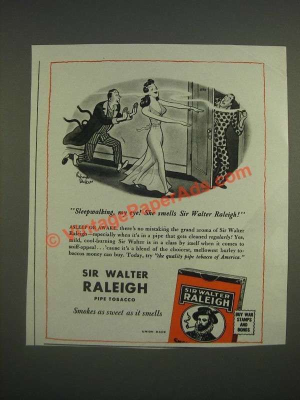 1944 Sir Walter Raleigh Tobacco Ad - Cartoon by Richard Decker - Sleepwalking