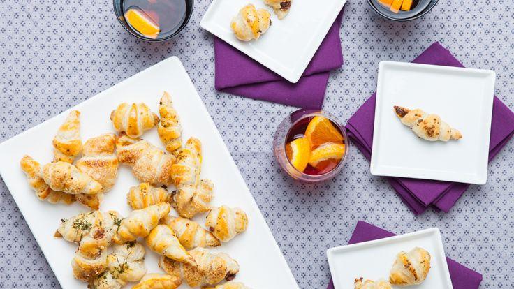 Croissants au jambon fumé, épinards et fromage