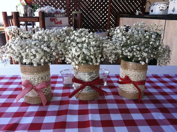 country party theme | Tin cans decorated to fit a country theme party | Very Creative!