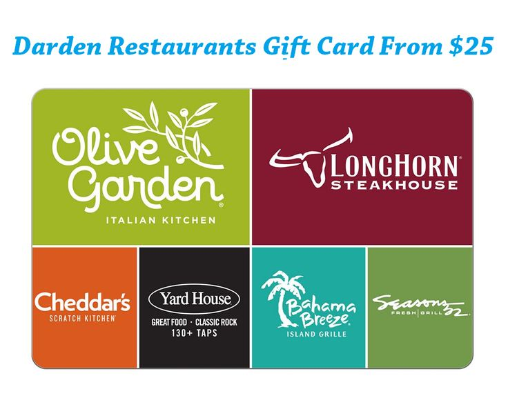 Darden restaurants gift card from 25 at