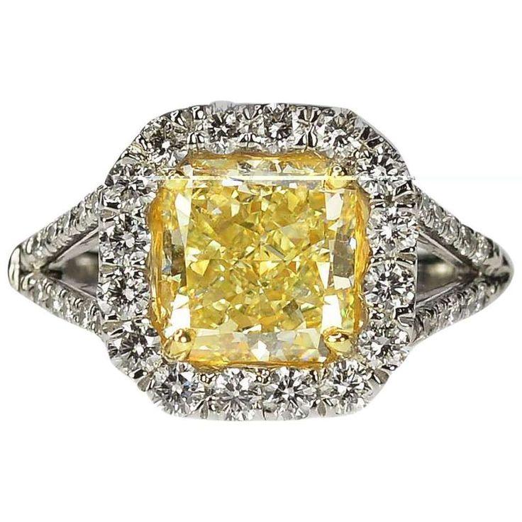 Canary Yellow Diamond Gold Platinum Ring 1