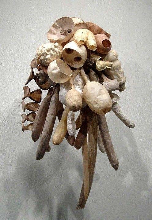 """Gretchen Schermerhorn, cast handmade paper, waxed linen thread, 40"""" x 20"""" x 20"""""""
