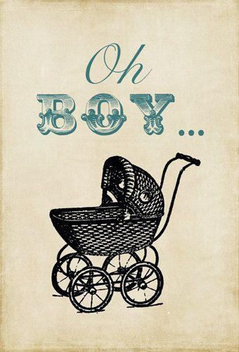 PRINTABLE - Digital File Only - Baby Boy Shower Invite - Vintage Stroller - Blue, Brown, Tan, Rustic, Grungy, Antique Baby Stroller. $30.00, via Etsy.