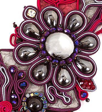 Vintage Cabochons ,soutache necklace by Nancy Donaldson