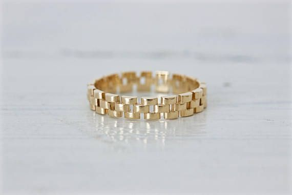 Unique 14k Yellow Stacking Ring with Chain Link Design