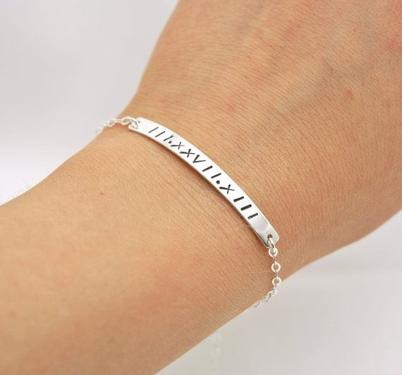 Hand Stamped Custom Date Bracelet  Sterling Silver by MyveraDesign