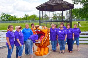 Headwaters Lions Club dedicates new drinking fountain at Chahinkapa Zoo.