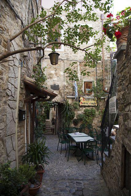 .Backyard restaurant in Seborga, Liguria / Italy