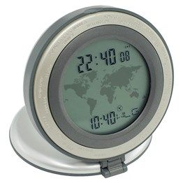 Clock shows both 24 world times and local time simultaneously. Complete with alarm & daylight savings adjustment, this traveller clock is easy to use by simply rotating bezel to display different times. Supplied with battery.