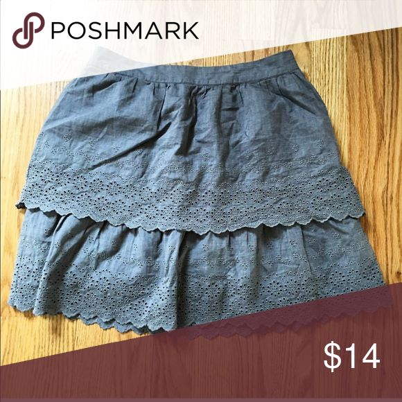 """JCrew eyelet skirt size 00 JCrew cotton eyelet skirt. Double layer of eyelet fabric in gray. Zip closure. Excellent condition.  Size 00 13"""" across at waist  16"""" long J. Crew Skirts Mini"""