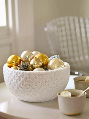 """Family Circle - How -To - """" A Soft Touch."""" Hot glue an old sweater to a bowl and place old ornaments, candy, pinecones, etc in it."""