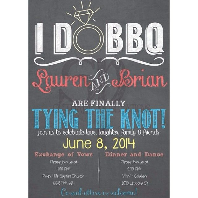 I DO BBQ Invitation #ido #barbeque #wedding #chalkboard #invitation #weddinginvitation #chalkboardinvitation #bbq #casualwedding also can be a shower invite! #bridalshower #invitation #etsy #pinterest #southardpublications by southernarrowdesigns